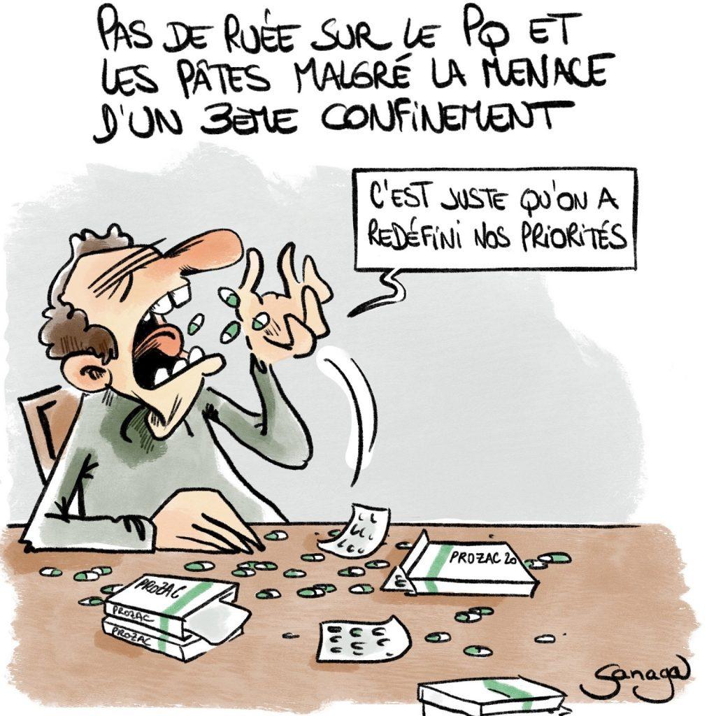 dessin presse humour coronavirus confinement image drôle ruée PQ pâtes Prozac