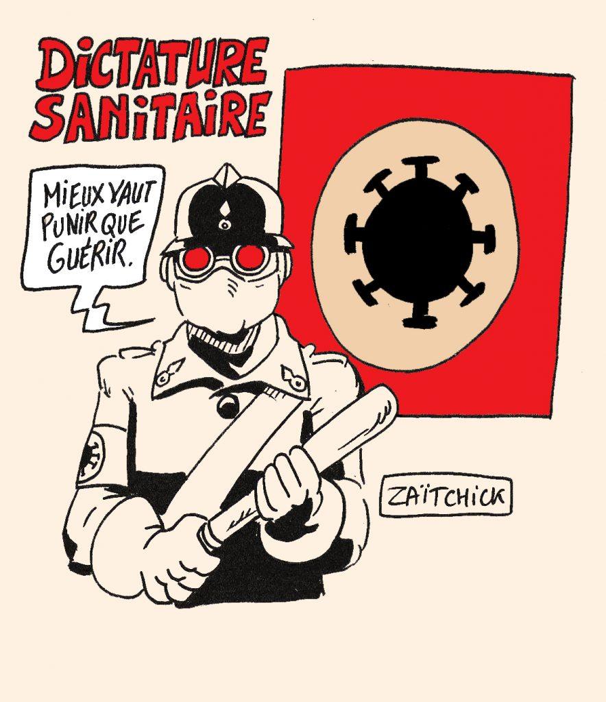 dessin presse humour coronavirus covid-19 image drôle dictature sanitaire santé liberté