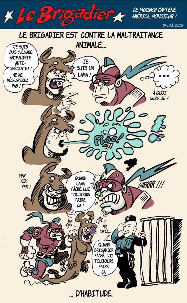 image drôle Le Brigadier dessin humour véganisme spécisme animalisme maltraitance animale