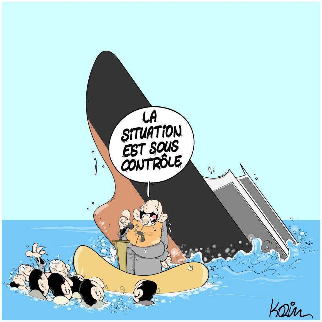 dessin presse humour crise économique sanitaire image drôle naufrage situation contrôle