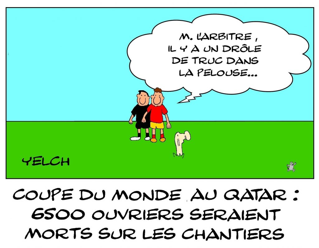dessins humour foot football image drôle coupe du monde Qatar morts
