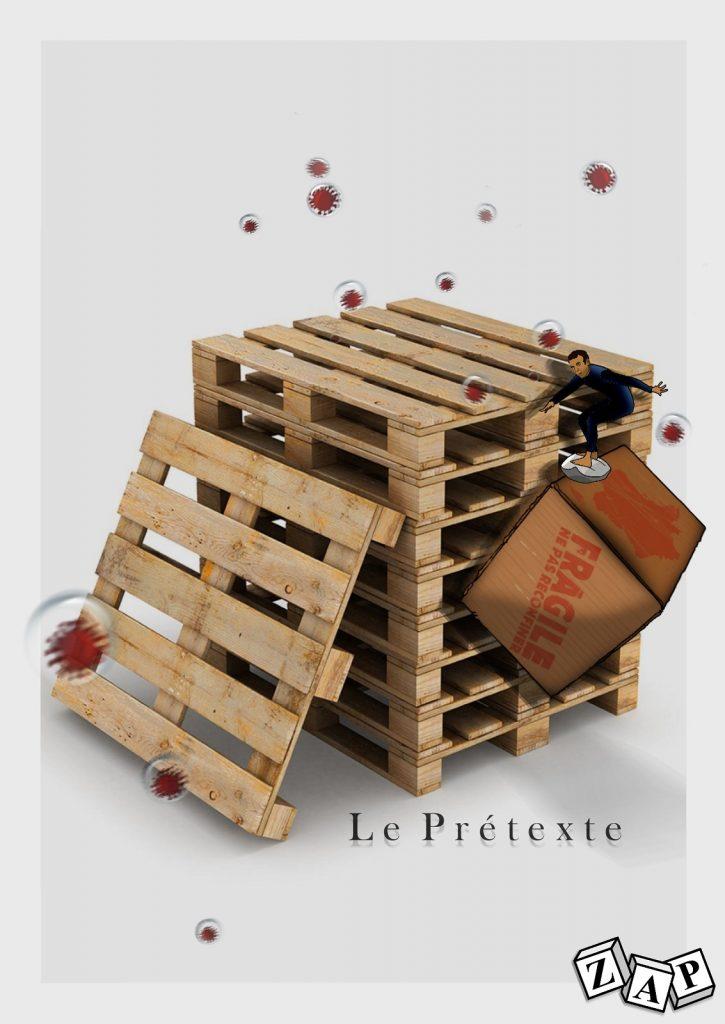dessin presse humour coronavirus covid19 image drôle Emmanuel Macron confinement