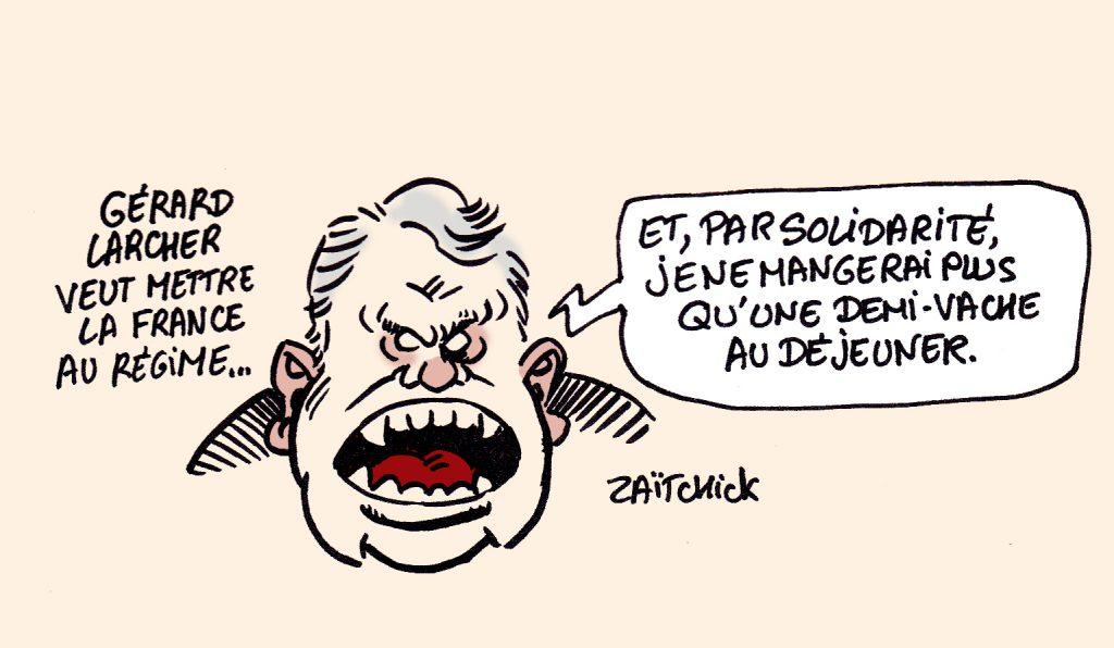 dessin presse humour Gérard Larcher image drôle dépenses publiques France régime