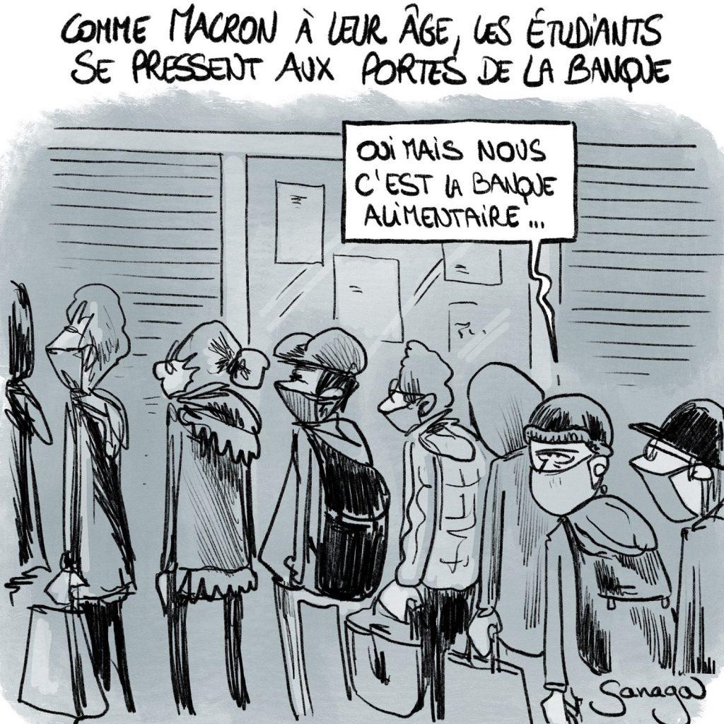 dessin presse humour précarité étudiants image drôle banque alimentaire