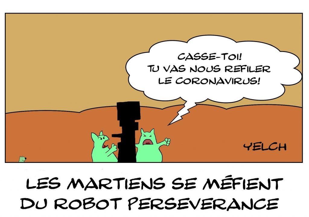 dessins humour mission Mars 2020 martiens image drôle NASA rover Perseverance