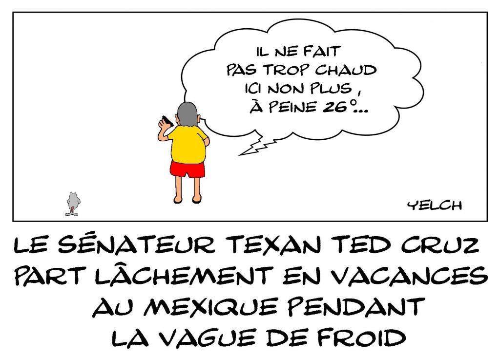 dessins humour États-Unis Texas image drôle vacances sénateur Ted Cruz Mexique
