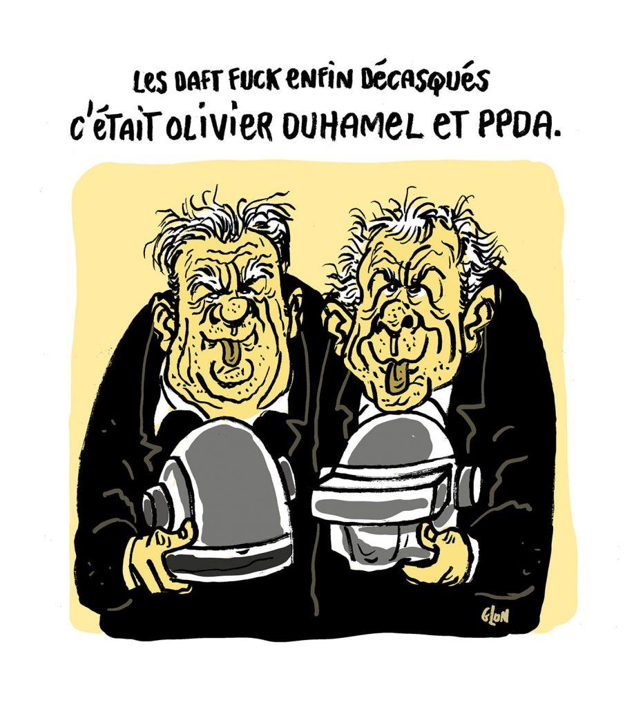 dessin presse humour Olivier Duhamel Patrick Poivre d'Arvor image drôle Daft Punk viol