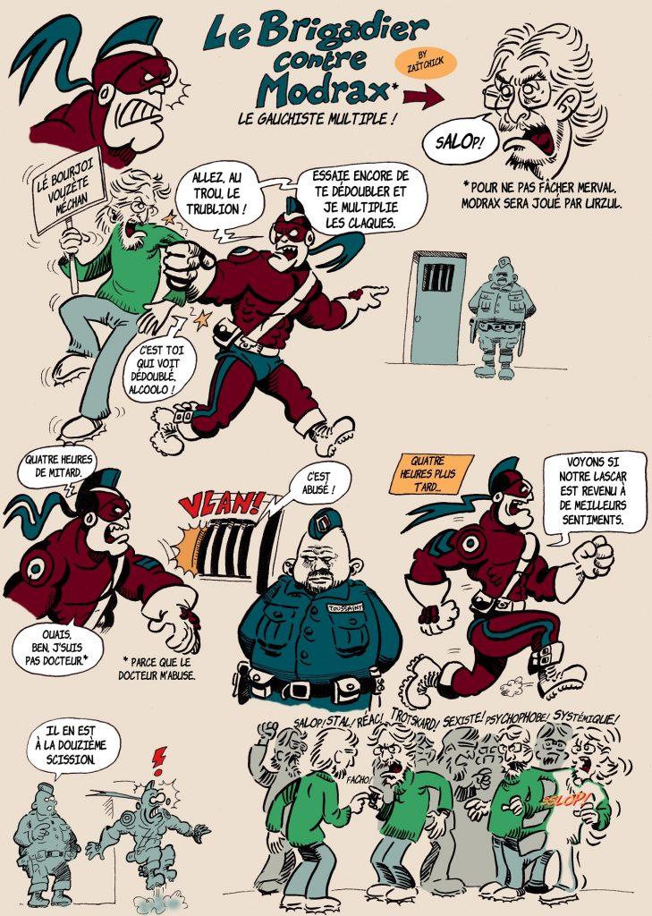 image drôle Le Brigadier dessin humour Madrox Usul gauchiste scission