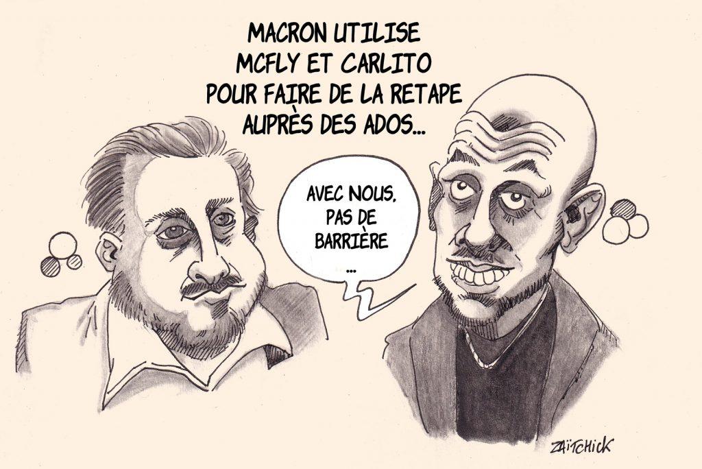 dessin presse humour Emmanuel Macron image drôle McFly Carlito gestes barrières