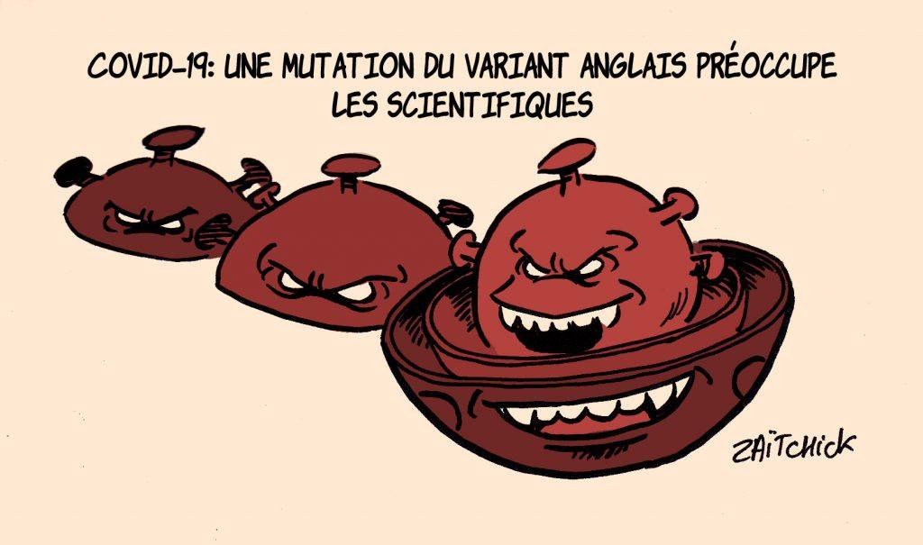 dessin presse humour coronavirus covid-19 image drôle variant anglais mutation