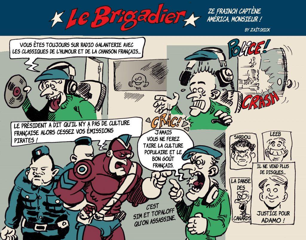 image drôle Le Brigadier dessin humour Emmanuel Macron culture française