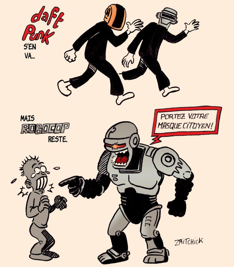 dessin presse humour coronavirus Robocop image drôle Daft Punk