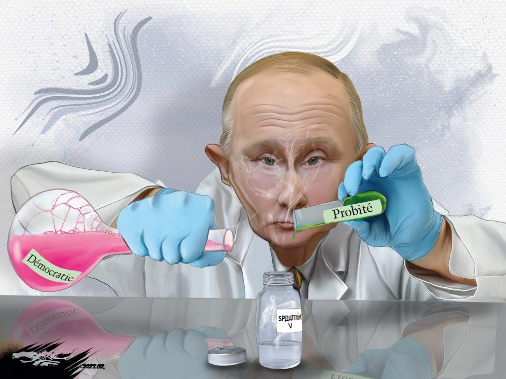 dessin presse humour Vladimir Poutine image drôle coronavirus vaccin russe Sputnik V