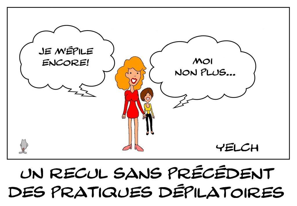 dessins humour épilation dépilation image drôle recul pratiques dépilatoires