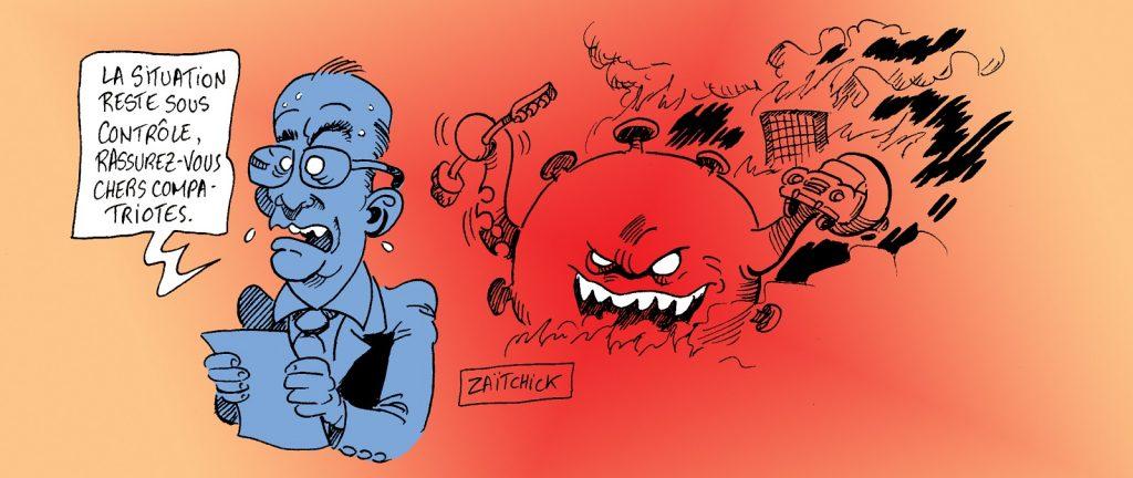 dessin presse humour coronavirus covid-19 image drôle conférence presse Jean Castex