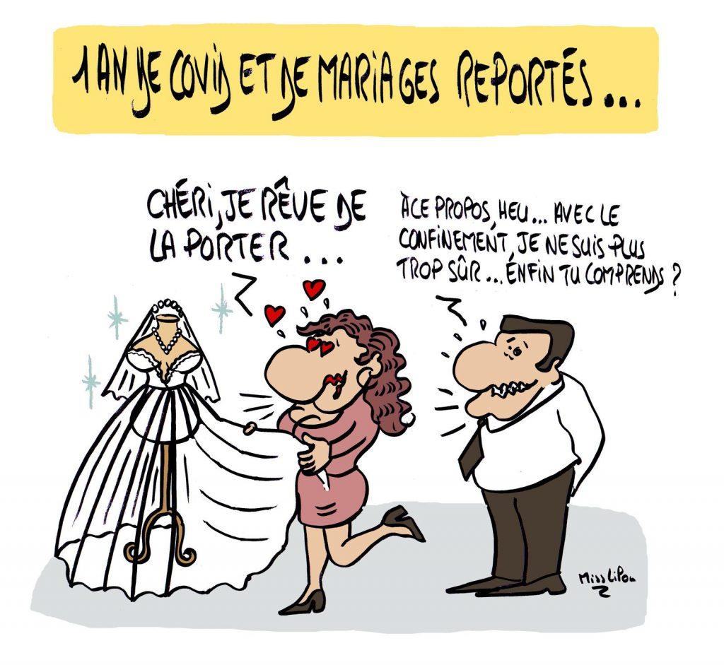 dessin presse humour coronavirus covid-19 image drôle confinement mariage