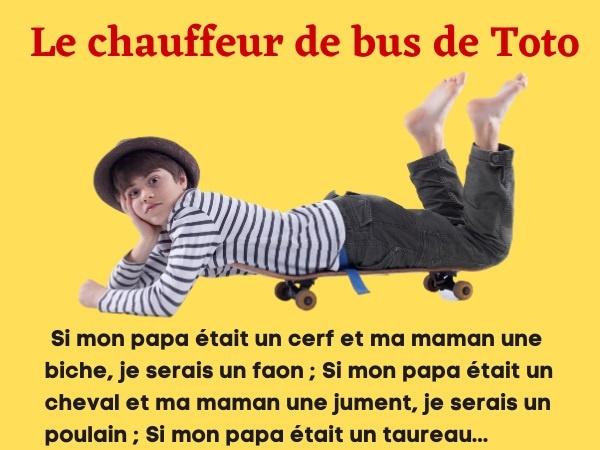 humour, blague de Toto, blague Toto, blague chauffeur de bus, blague école, blague trajet, blague chanson