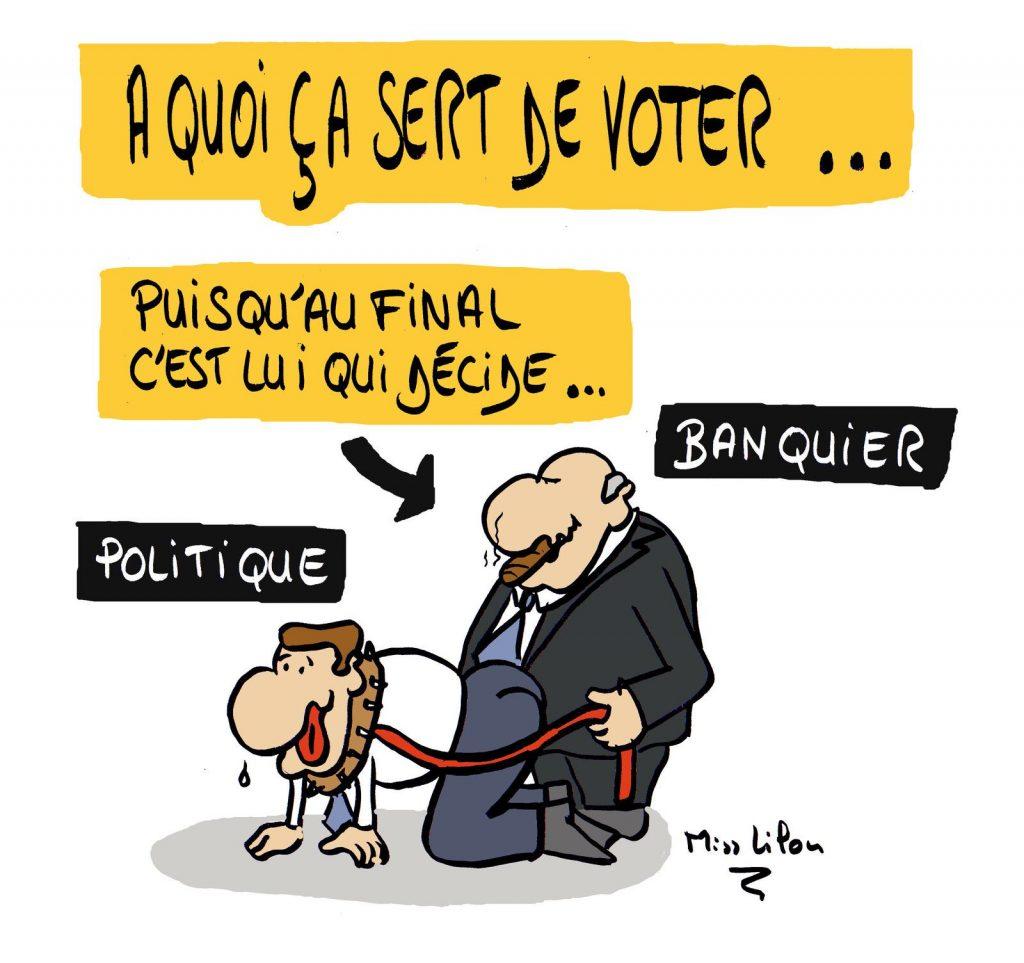 dessin presse humour démocratie élection image drôle finance utilité banque