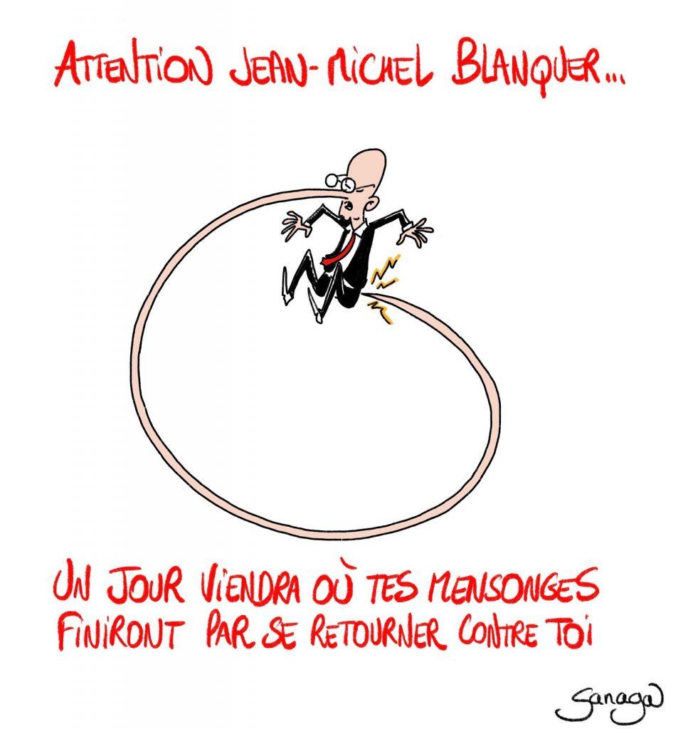 dessin presse humour coronavirus covid-19 image drôle Jean-Michel Blanquer contamination mensonges