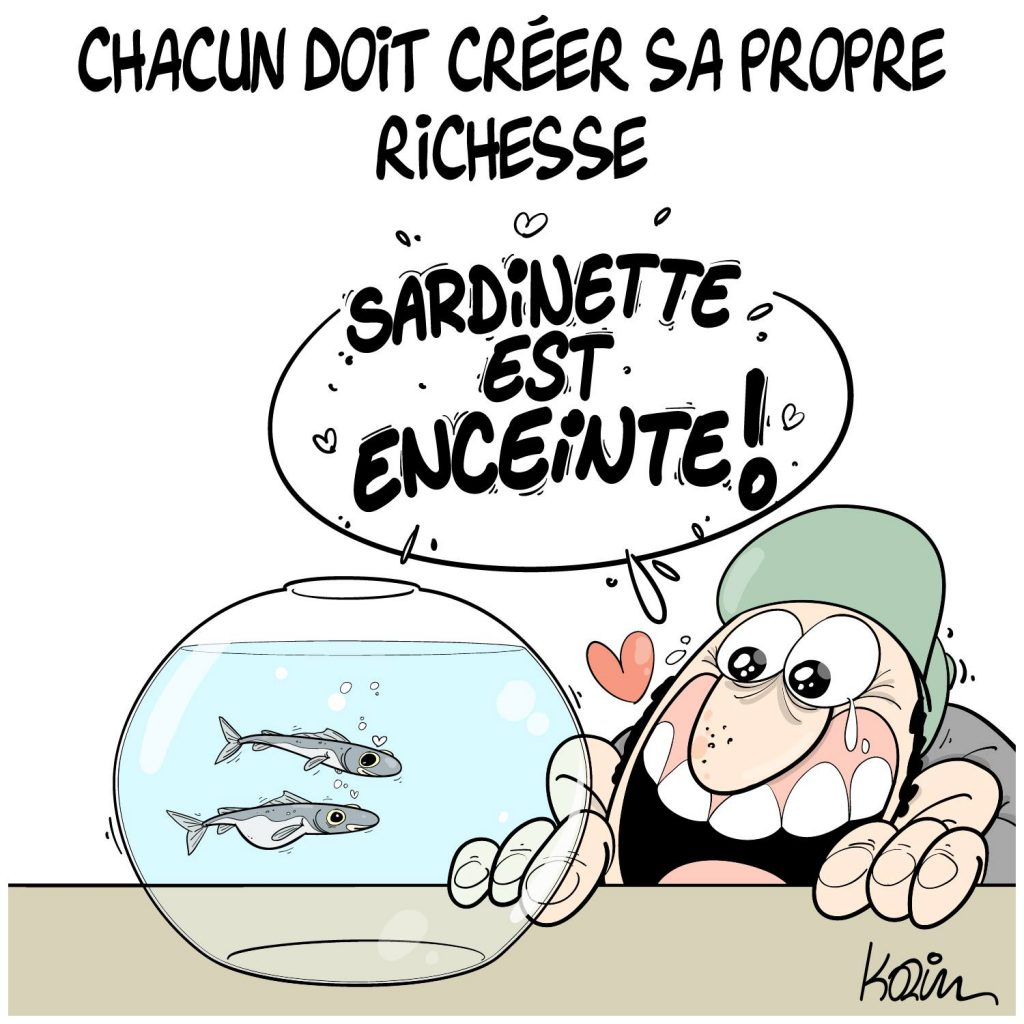 dessin presse humour Algérie richesse image drôle prix nourriture inflation sardine