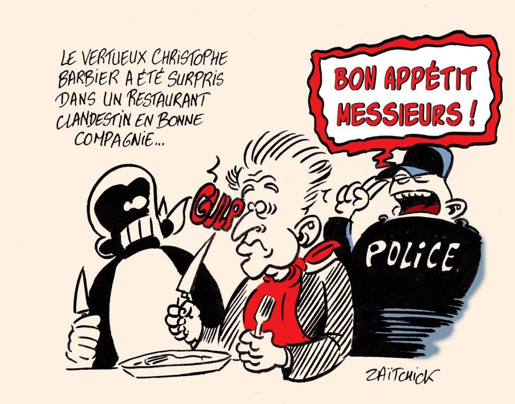 dessin presse humour coronavirus Christophe Barbier image drôle restaurant clandestin