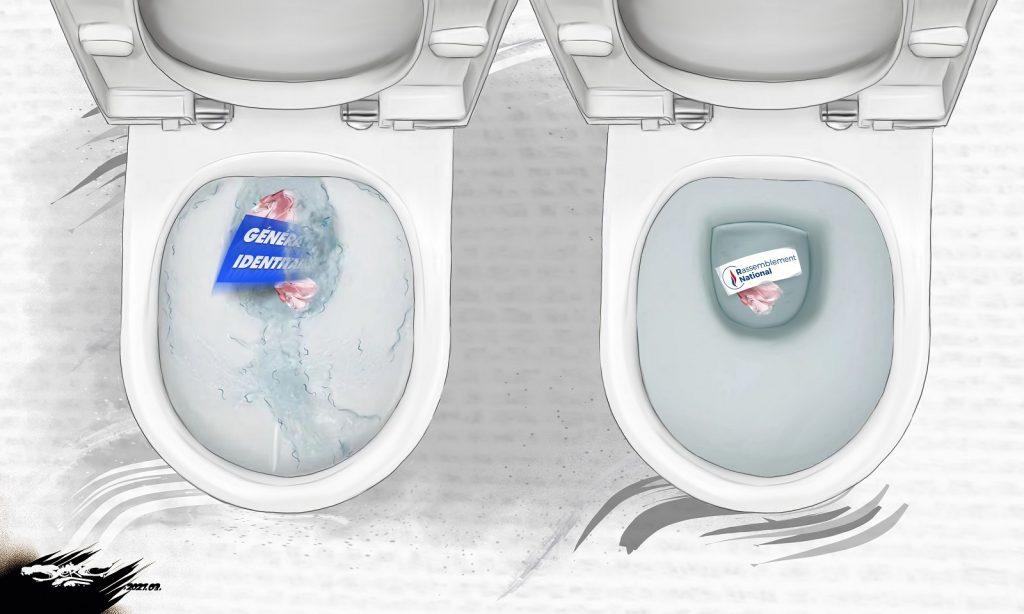 dessin presse humour Génération Identitaire image drôle dissolution chasse d'eau