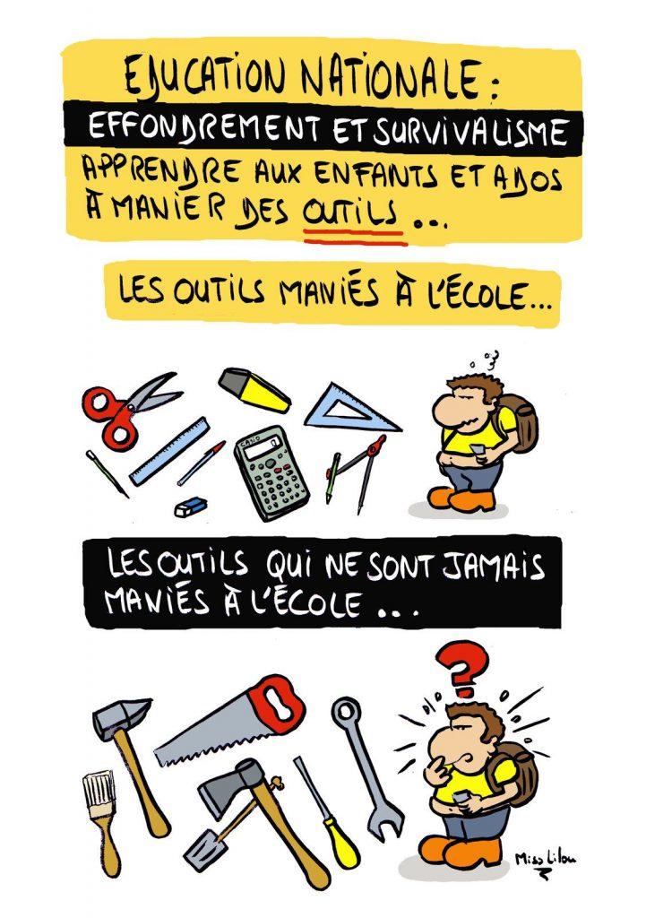 dessin presse humour collapsologie effondrement image drôle Éducation Nationale