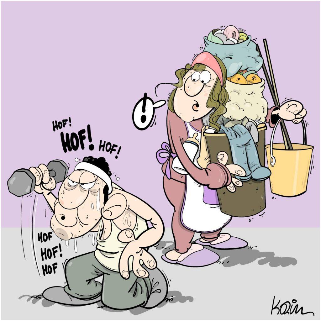 dessin presse humour journée internationale image drôle droits femmes 8 mars musculation ménage