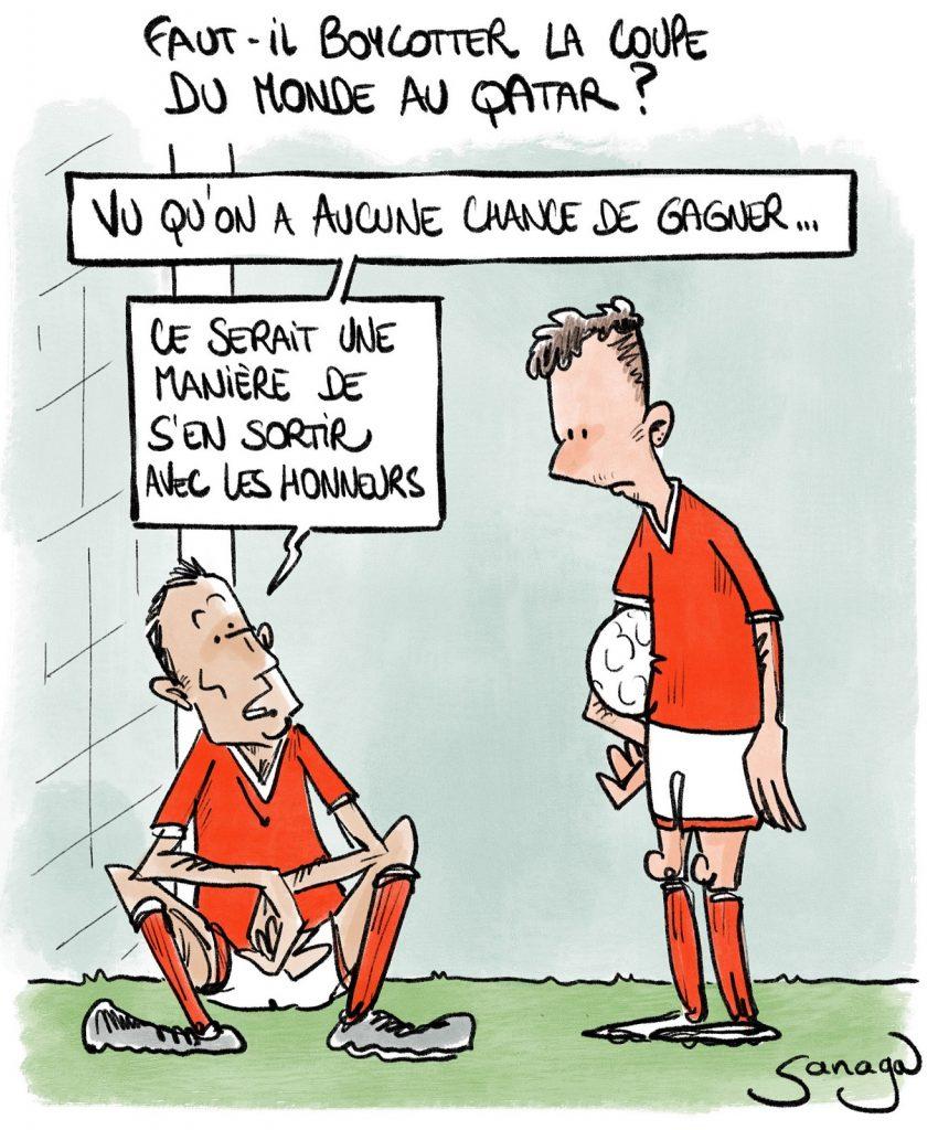 dessin presse humour foot football image drôle coupe du monde Qatar boycott