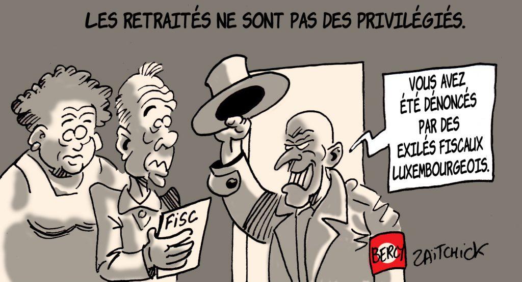 dessin presse humour retraités privilégiés image drôle impôts exil fiscal