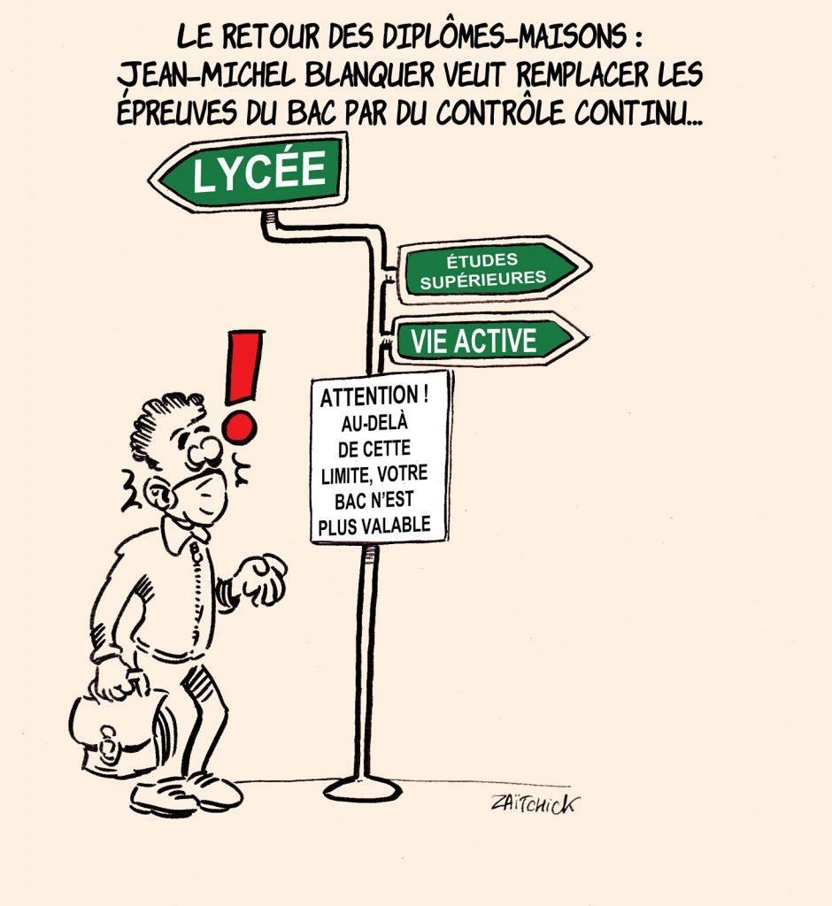 dessin presse humour Baccalauréat contrôle continu image drôle Jean-Michel Blanquer