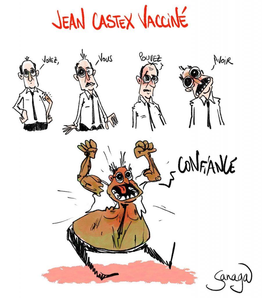 dessin presse humour coronavirus covid-19 image drôle Jean Castex vaccin AstraZeneca