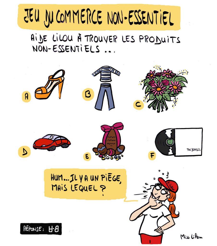 dessin presse humour coronavirus covid-19 image drôle confinement commerces non-essentiels