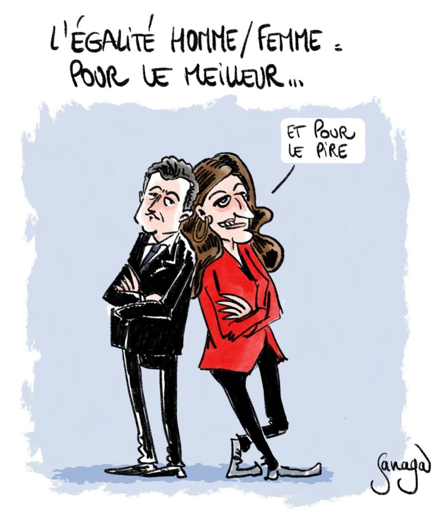 dessin presse humour Gérald Darmanin image drôle Marlène Schiappa égalité femme homme