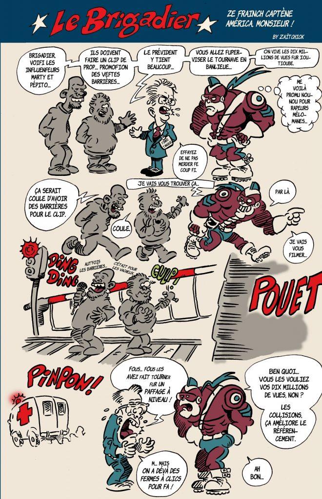 image drôle Le Brigadier dessin humour Emmanuel Macron McFly Carlito gestes barrières