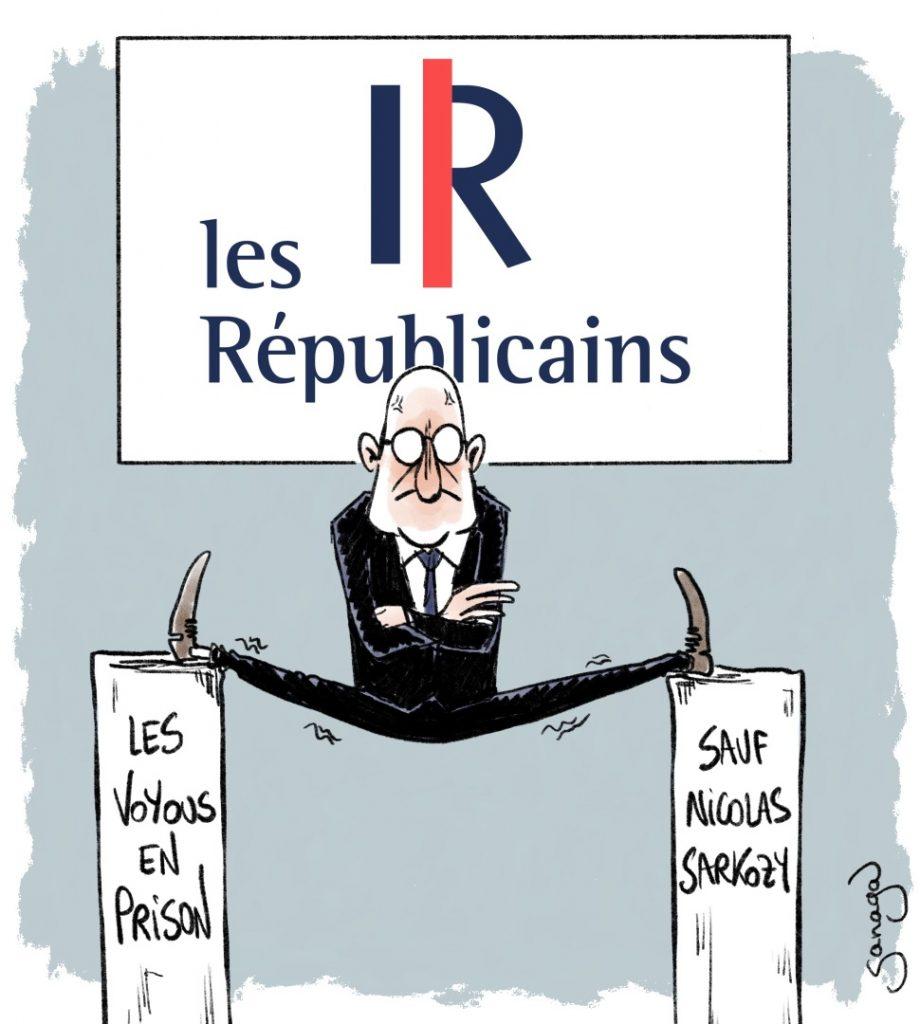 dessin presse humour Nicolas Sarkozy image drôle Les Républicains grand écart