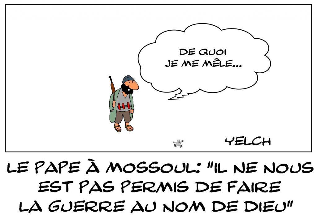 dessins humour Pape François Irak image drôle Mossoul djihad guerre