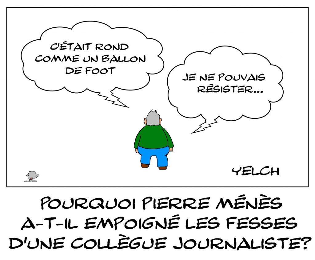 dessins humour Pierre Ménès atteintes sexuelles image drôle fesses ballon