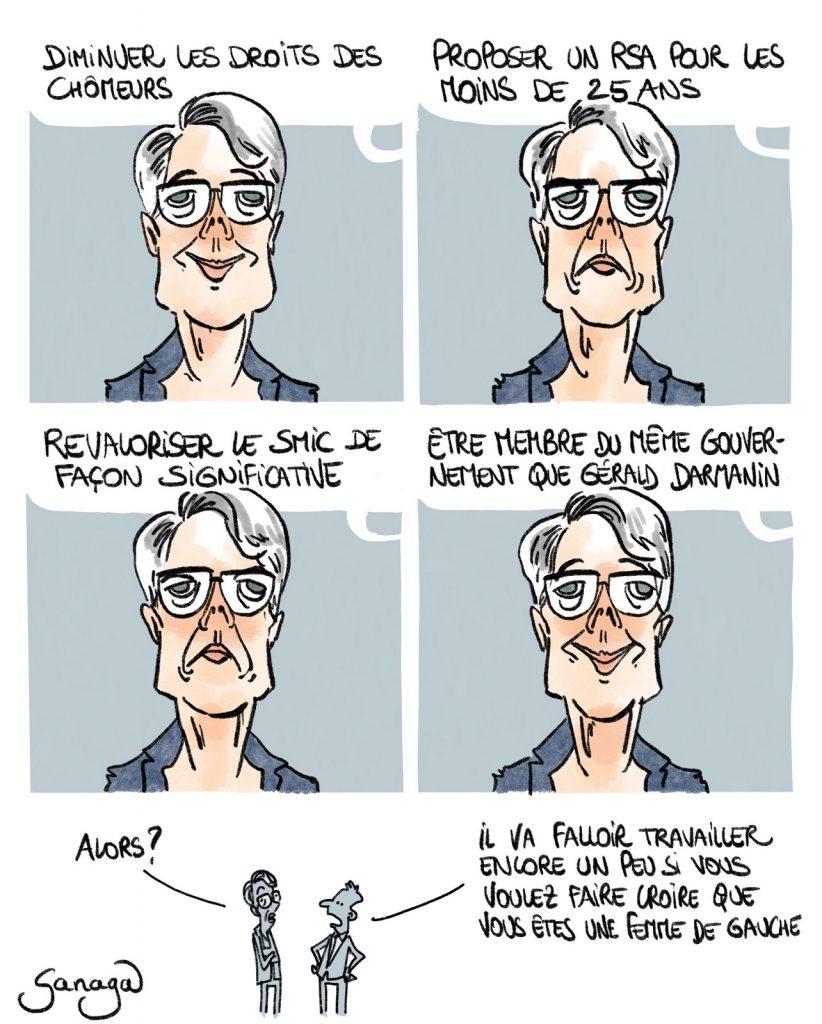 dessin presse humour Élisabeth Borne image drôle femme de gauche