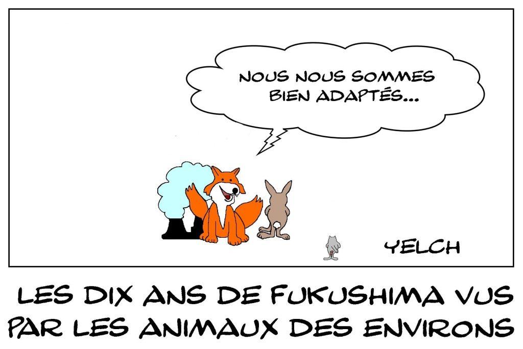 dessins humour anniversaire Fukushima image drôle animaux mutation