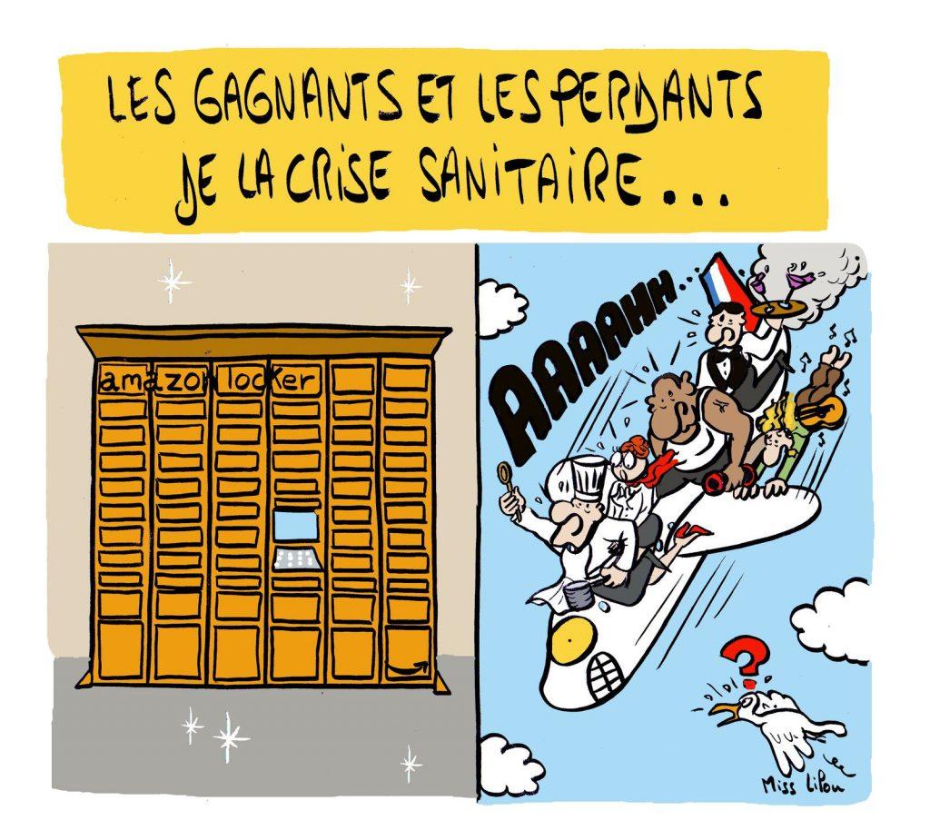 dessin presse humour coronavirus crise économique image drôle gagnants perdants
