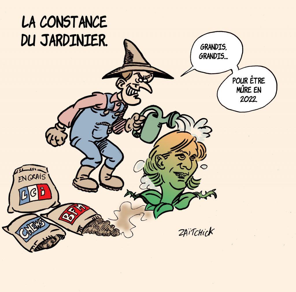 dessin presse humour Emmanuel Macron image drôle Marine Le Pen présidentielle 2022