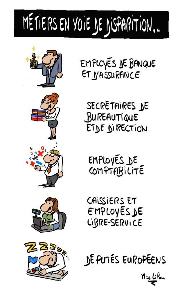 dessin presse humour robotique intelligence artificielle image drôle disparition métiers