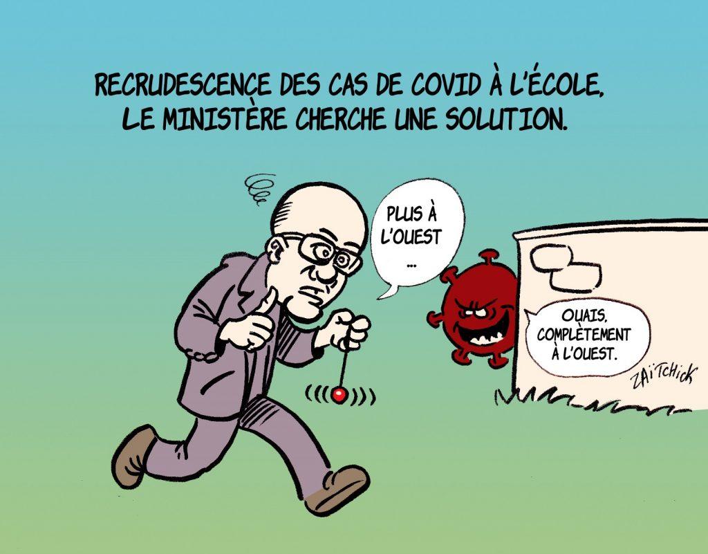 dessin presse humour coronavirus covid-19 image drôle Jean-Michel Blanquer contamination école