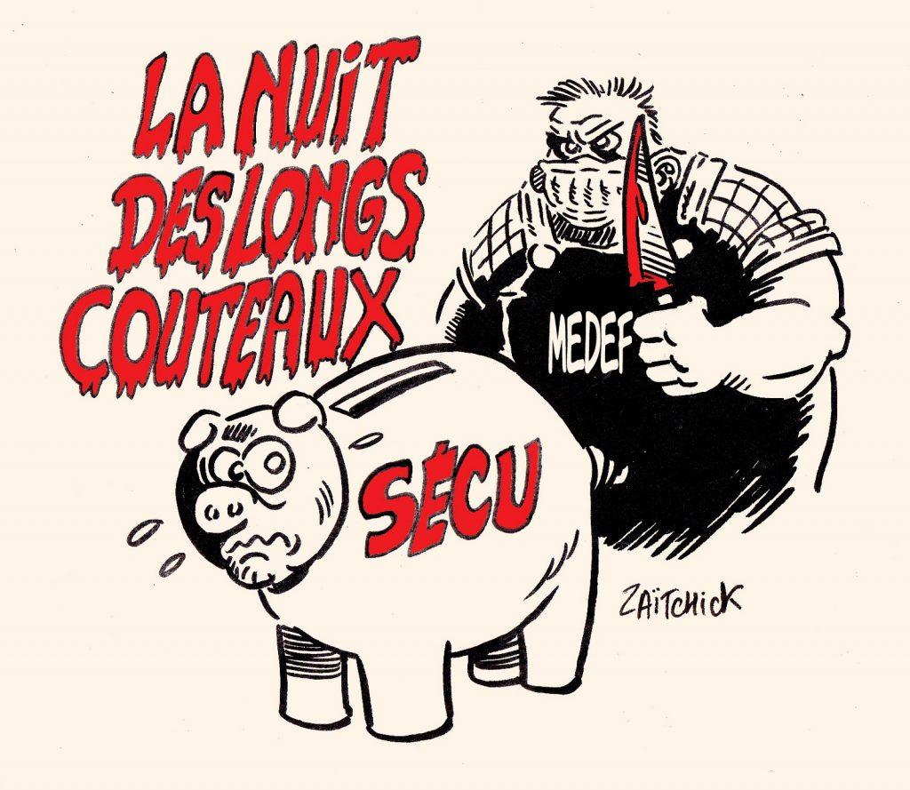 dessin presse humour Sécurité Sociale image drôle Assurance Maladie Medef