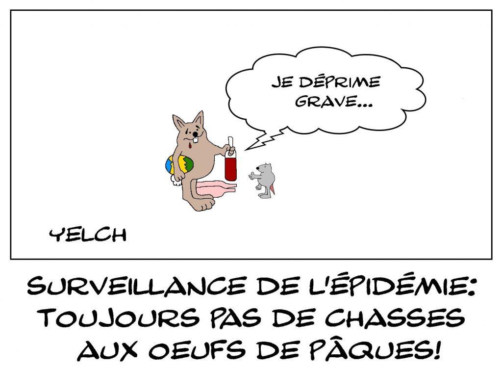 dessins humour coronavirus Pâques image drôle lapin de Pâques déprime