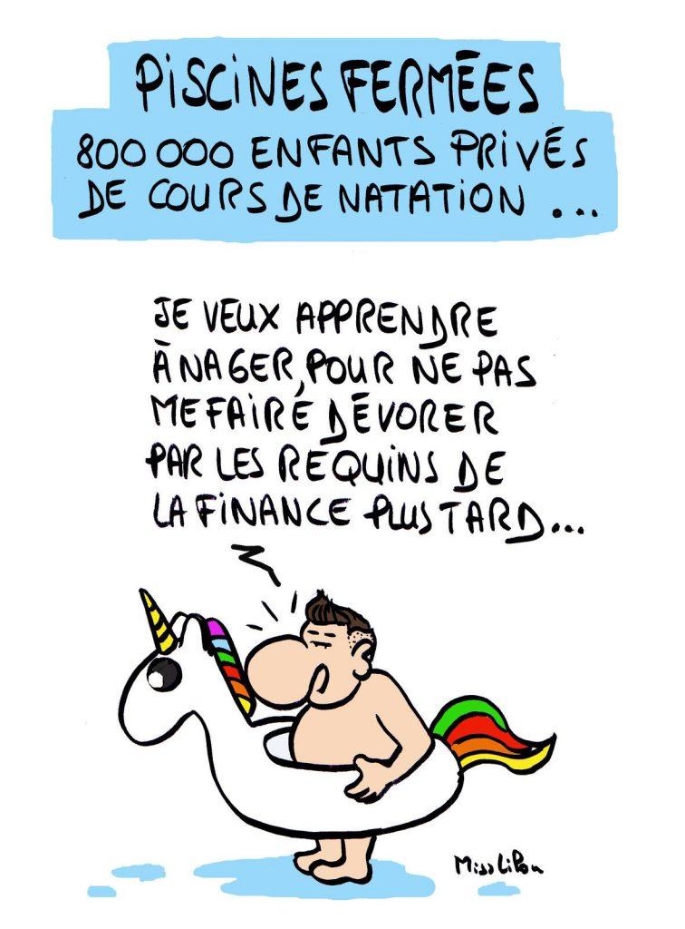 dessin presse humour coronavirus covid-19 image drôle piscine natation finance