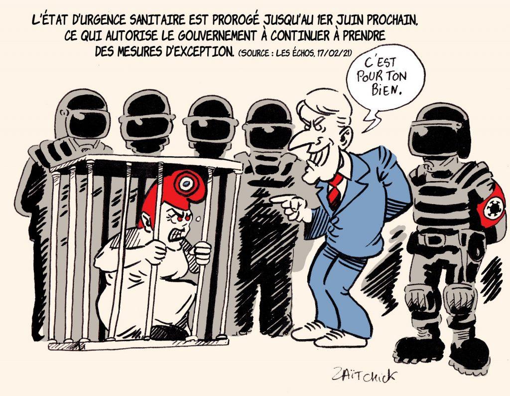 dessin presse humour coronavirus covid19 image drôle Emmanuel Macron état d'urgence sanitaire