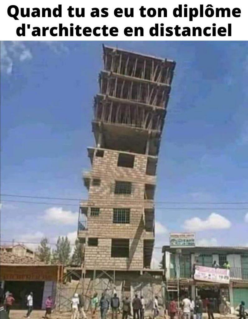 dessin humour immeuble architecte image drôle diplôme distanciel