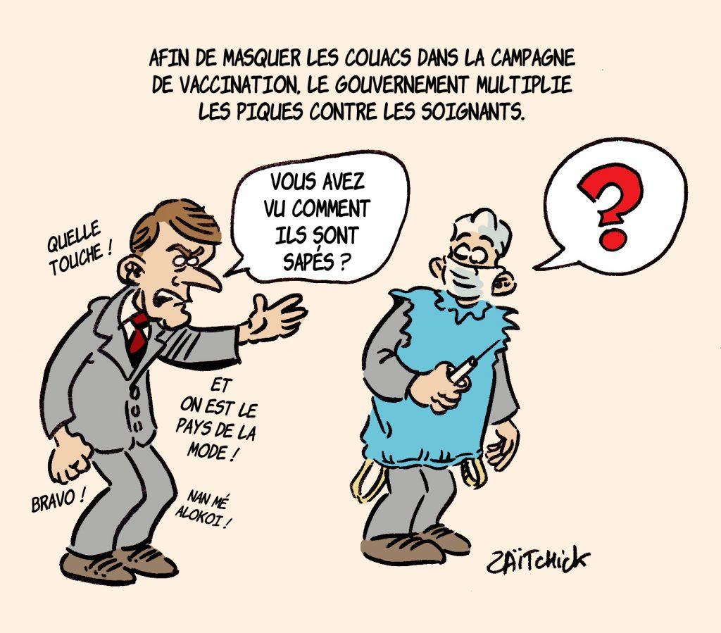 dessin presse humour coronavirus covid-19 image drôle Emmanuel Macron couacs vaccination